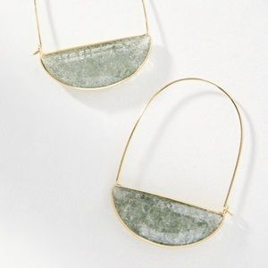 Anthropologie Gold and Gray Stone Oval Hoops